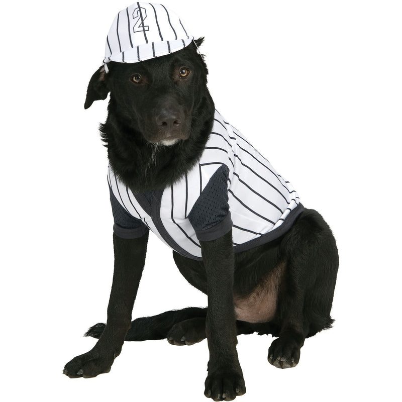 Black Pinstripe Baseball Player Pet Costume - kostumed
