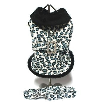 Blue Leopard Faux Fur Pet Coat Harness with Rhinestone Bone Buckle and Leash - kostumed