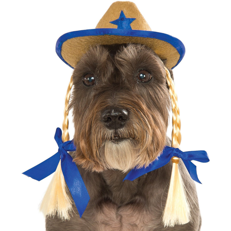 Cowgirl Hat with Braids Pet Costume - kostumed