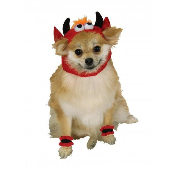Devil Headpiece with Cuffs Pet Costume - kostumed