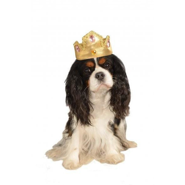 Gold Tiara With Pink Stones Dog Costume - kostumed