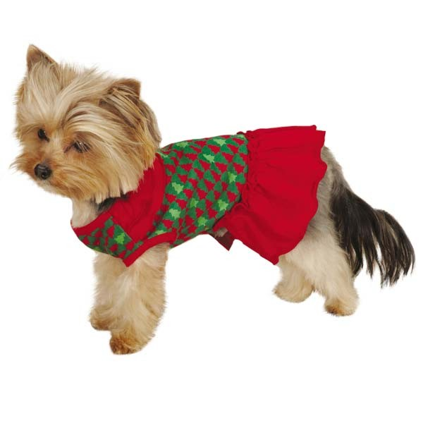 Red & Green Festive Holiday Houndtooth Pet Dress - kostumed