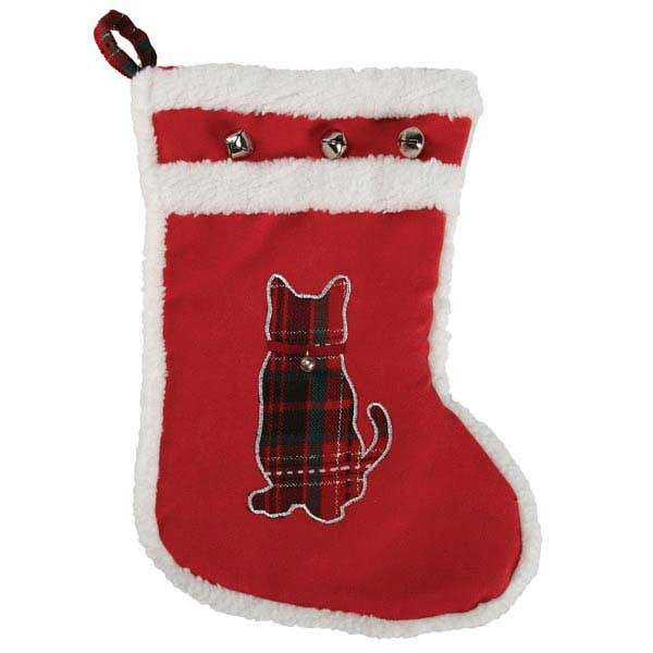 Red Cat Christmas Stocking - kostumed