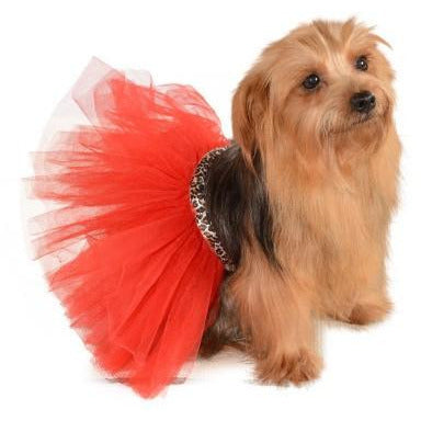 Red/Leopard Tutu Dog Costume - kostumed