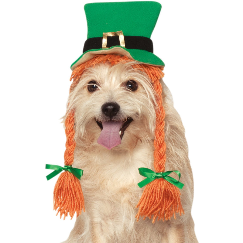 St. Patty's Day Pet Hat with Braids - kostumed