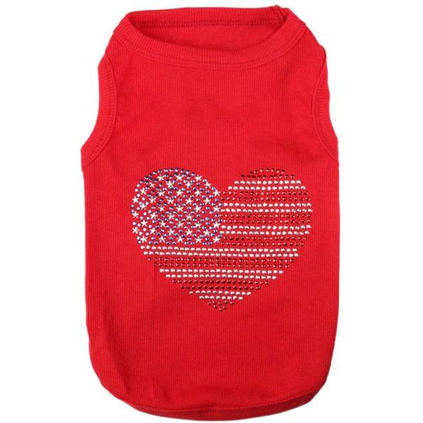 USA Flag Jeweled Pet Shirt - kostumed