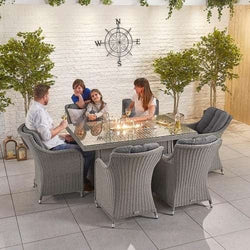 Nova - Heritage Camilla 6 Seat Dining Set with Fire Pit - 1.5m x 1m Rectangular Table - White Wash