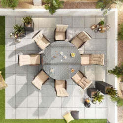 Nova Ruxley Reclining 8 Seat Garden Furniture Dining Set -1.8m Round Table - Brown