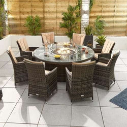 Nova - Sienna 8 Seat Dining Set with Fire Pit - 1.8m Round Table - Brown