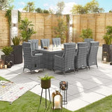 Nova -  Ruxley Reclining 8 Seat Dining Set with FirePit - 2m x 1m Rectangular Table - Grey