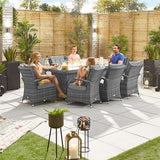 Nova Olivia 8 Seat Dining Set with FirePit - 2m x 1m Rectangular Table - Grey
