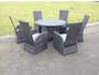 Rome 6 seater round reclining rattan dining set outdoor garden furniture mixed grey
