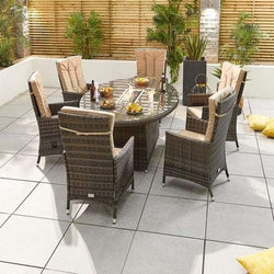 Nova - Ruxley 6 Seat Reclining Dining Set with Fire Pit - 1.8m x 1.2m Oval Table - Brown