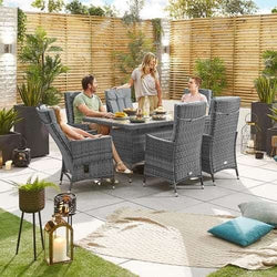 Nova Ruxley Reclining Rattan Garden Furniture 6 Seat Grey Dining Set - 1.5m X 1.0 m Rectangular Table