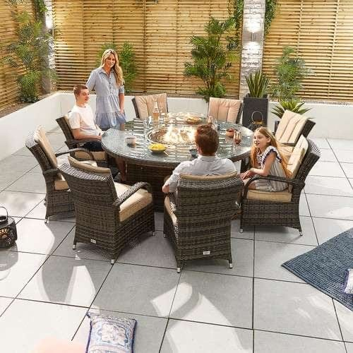 Nova - Olivia 8 Seat Dining Set with FirePit - 1.8 m Round Table - Brown