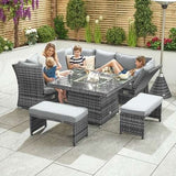 Nova - Compact Cambridge Rattan Corner Dining Set with Rising Firepit & Reclining Sides - Grey
