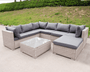 Majorca XL Rattan Corner Arm  Garden Furniture Sofa Set | White Wash