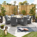 Nova - Olivia 8 Seat Dining Set with Fire Pit - 2m x 1.3m Oval Table -Grey