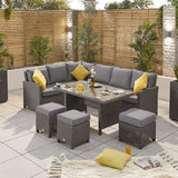 Heritage Ciara Corner Dining Set with Parasol Hole Table - Left Hand - Slate Grey