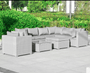 Menorca XL Rattan Suite & Chair Garden Furniture Lounge  modular Outdoor  Sofa Chair Set Grey
