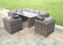 Pollenca llla D'Or 8 Seater Rattan Garden Sofa Dining Table Grey Set Chairs Outdoor Grey Furniture