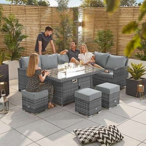 The Cambridge Left Hand Casual Dining Set with Firepit Table is a popular rattan corner dining option with added gas firepit table for year-round use