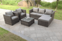 Cappuccino 6 Seat combo Rattan Garden Outdoor Furniture GREY  set