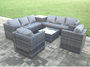 Pollenca Capri 8 seater grey rattan corner sofa table outdoor garden furniture patio set & FREE LARGE FOOTSTOOL