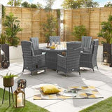 Nova - Ruxley 6 Seat Reclining  Dining Set with Fire Pit - 1.8m x 1.2m Oval Table - Grey