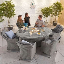 Nova - Heritage Camilla 6 Seat Dining Set with Fire Pit - 1.8m x 1.2m Oval Table - White Wash