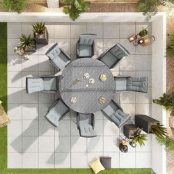 Nova Ruxley Reclining 8 Seat Garden Furniture Dining Set -1.8m Round Table - Grey