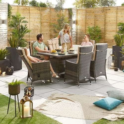 Nova Ruxley Reclining Rattan Garden Furniture 6 Seat Brown Dining Set - 1.5m X 1.0 m Rectangular Table
