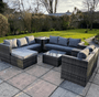 Andalusia Rattan 9 Seat Garden Furniture Corner Grey sofa set