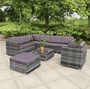 Toulouse 8 Seater Rattan Garden Corner Furniture Sofa set - Blakesley's