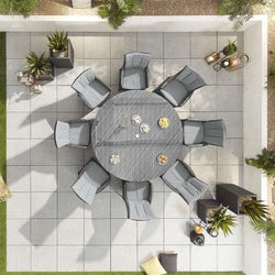 Nova - Sienna 8 Seat Dining Set - 1.8m Round Table - Grey