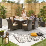 Olivia 6 Seat Rattan Dining Set - 1.5m x 1m Rectangular Firepit Table