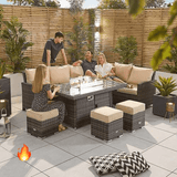 Nova Cambridge Corner Dining Set with FirePit Table - Right  Hand  - brown