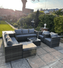 Andalusia XL  9 Seat Rattan Garden Furniture Corner Grey Sofa set | Side Tall table