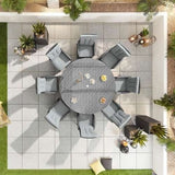 Ruxley Reclining  8 Seat Garden Furniture Dining Set -1.8m Round Table - Grey