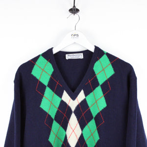 Vintage 90s BURBERRY Knit Sweatshirt Navy | Large