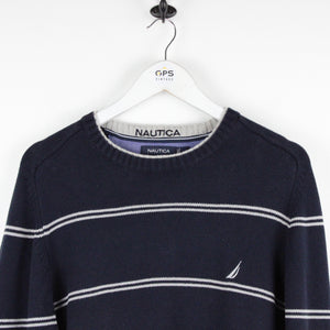 NAUTICA Knit Sweatshirt Navy Blue | Large