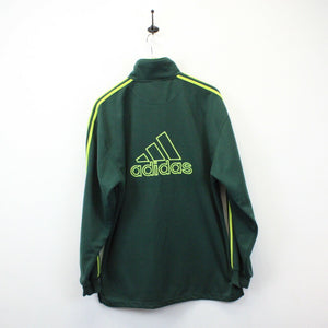 ADIDAS 90s 1/4 Zip Sweatshirt Green | Large