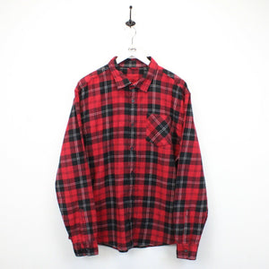 Flannel Plaid Shirt Red | Large