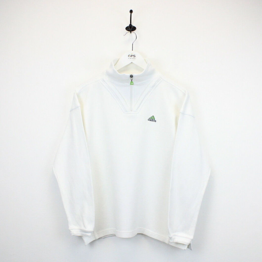 Womens ADIDAS 90s 1/4 Zip Sweatshirt White | Medium
