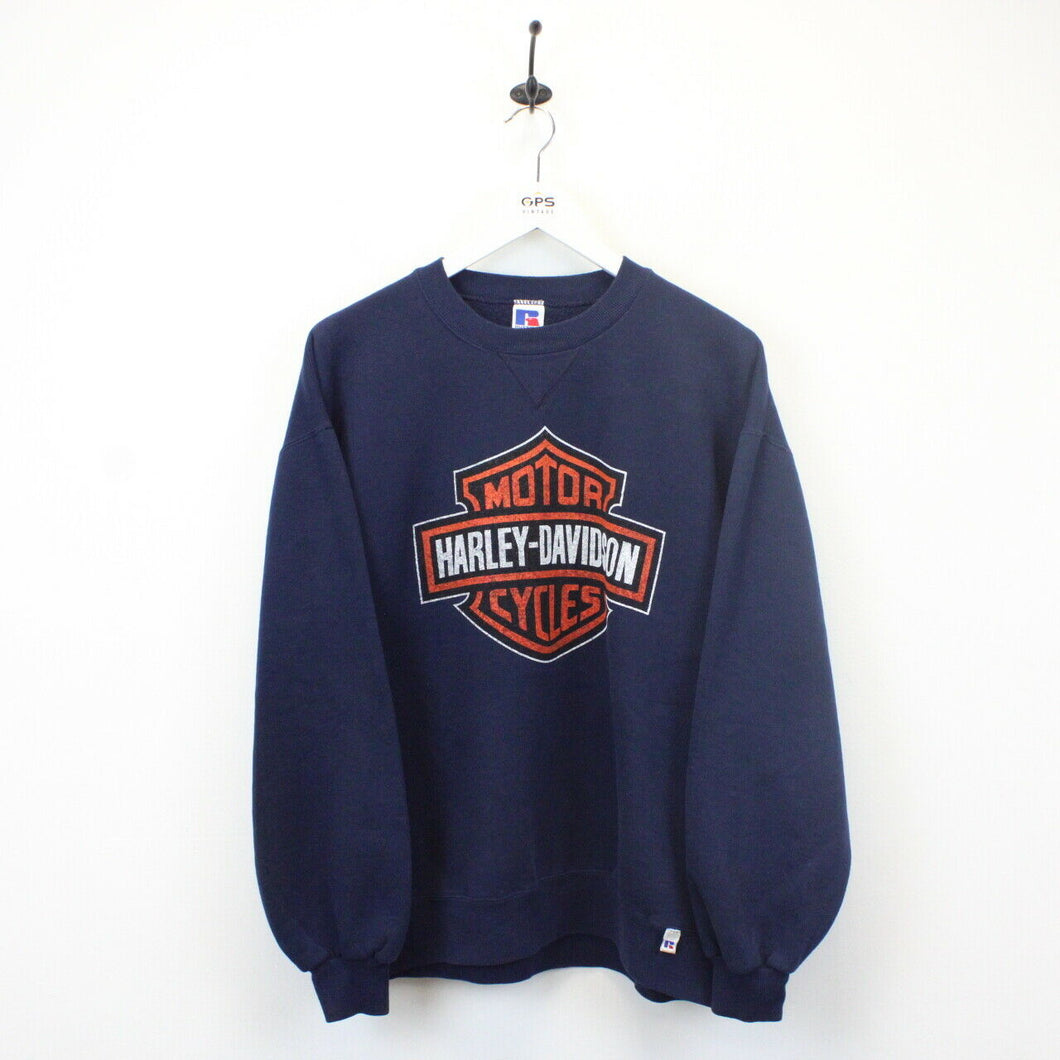 HARLEY DAVIDSON 90s Sweatshirt Navy Blue | Medium