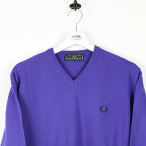 Vintage FRED PERRY Knit Sweatshirt Purple | Small