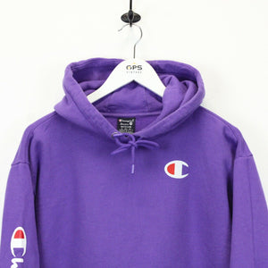 Womens CHAMPION Hoodie Purple | Medium