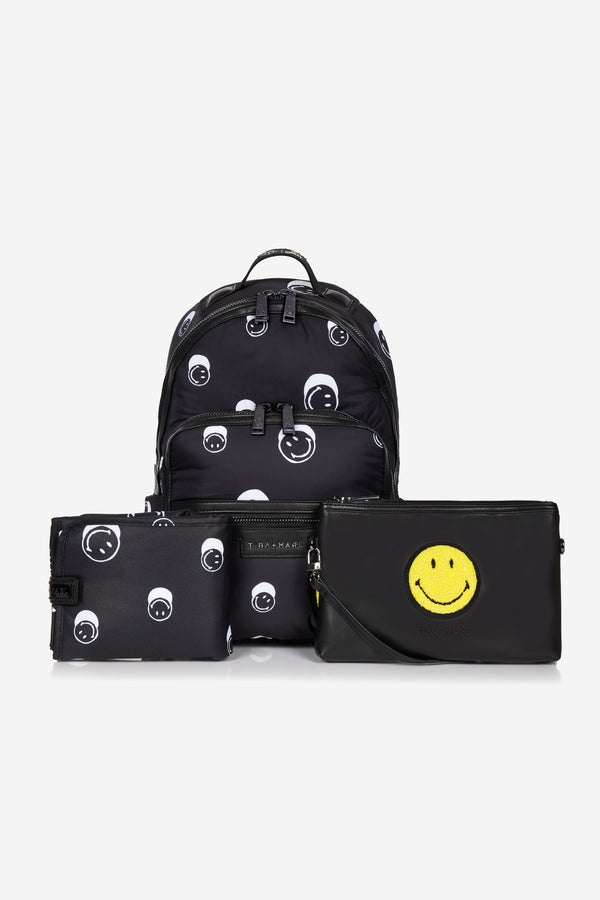 T+M x Smiley® Elwood Changing Backpack Black Smiley® Print