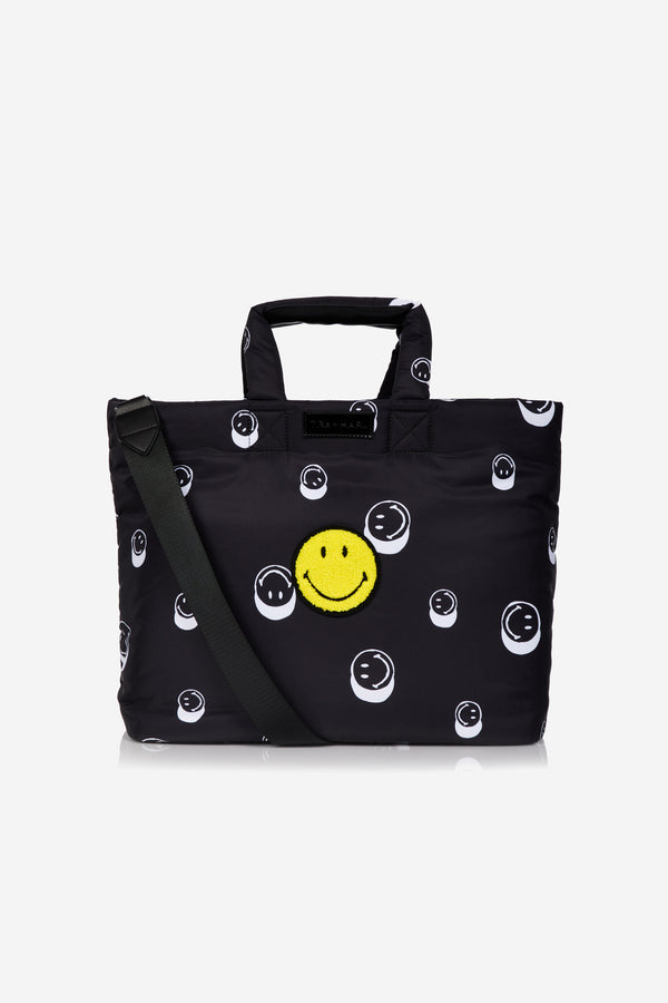 T+M x Smiley® Sumi Puffy Tote Black Smiley® Print