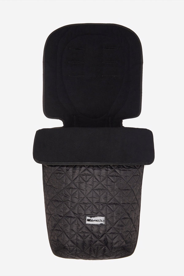 Universal Buggy Footmuff Black Quilted